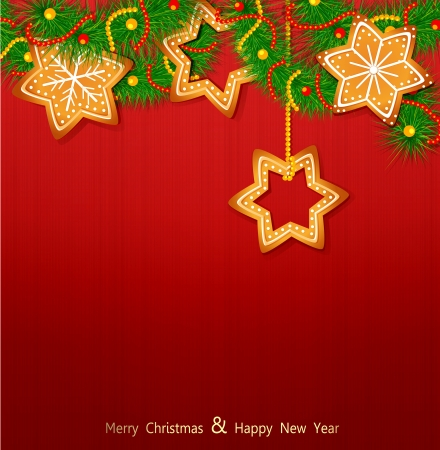Christmas background with sweets and Christmas tree on the red background Vector