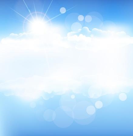 ciel avec nuages: vecteur de fond avec le ciel bleu et soleil avec des rayons Illustration