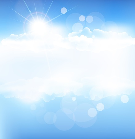 blue sky with clouds: vector background with blue sky and sun with rays Illustration