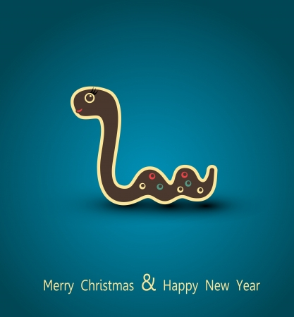 vector christmas background. Asian symbol of the new year, a snake. Stock Vector - 16420547