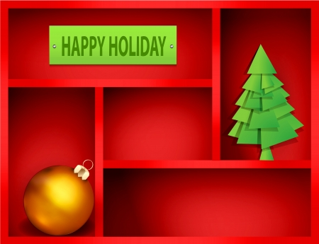 red shelf with Christmas and New Year elements Vector