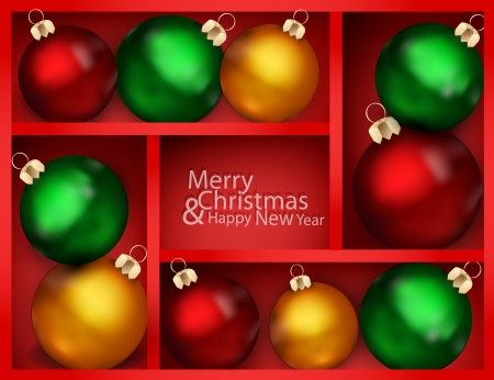 holiday background with red shelf, and New Year Vector