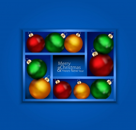 holiday background with blue shelf, and New Year s balls  Vector