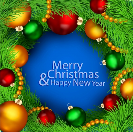 christmas background with Christmas balls and tree