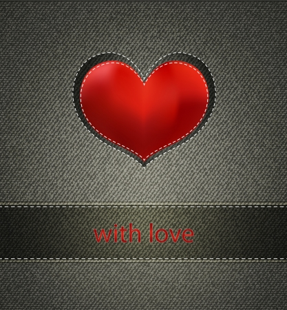 vector background with jeans texture and Silk Heart