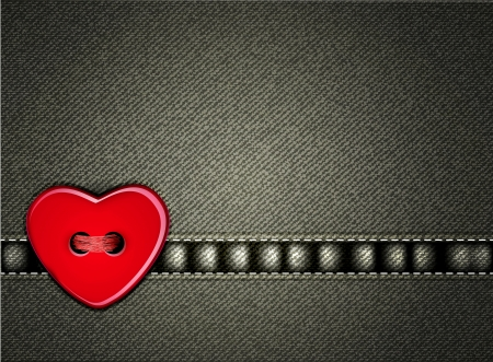 Vector jeans background Valentines Day with a heart of the button Vector