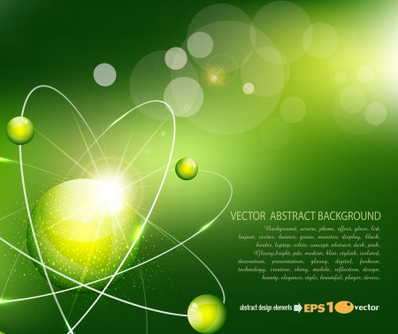 PROTON: vector green  background with the atom Illustration