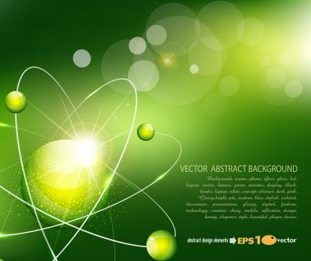 fizika: vektor, zöld, háttér, az atom