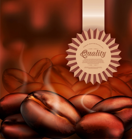 roasting: Vector romantic background with coffee beans close-up and a label of quality