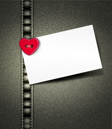 seam: vector denim background with a button in the form of heart and a card for text