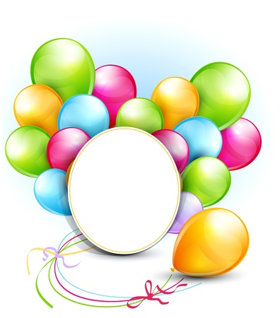 congratulation background with balloons and a round frame for text