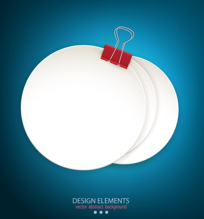 Blue background with a round stack of paper held together a paper clip Illustration