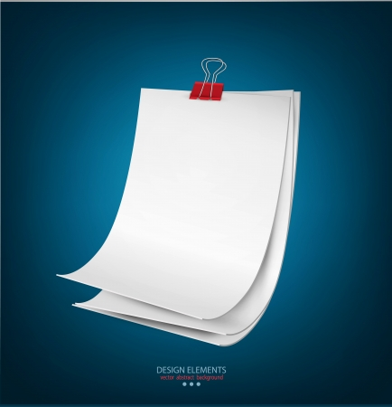clamps: Blue background with a round stack of paper held together a paper clip Illustration