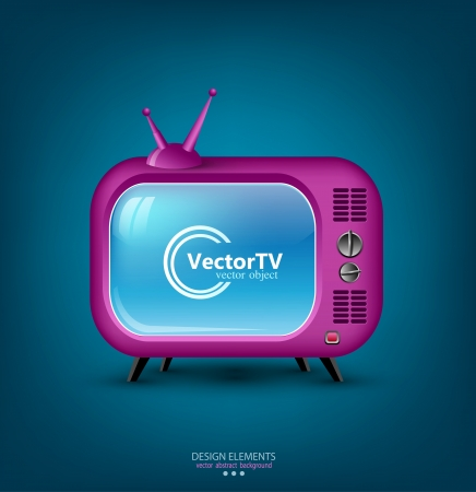 icon pink retro TV Vector