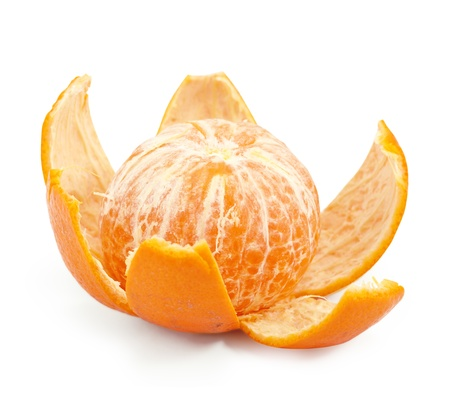 isolated, peeled mandarin on a white background Stock Photo