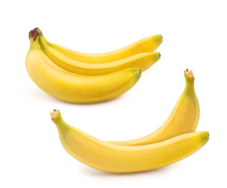 set bananas isolated on white background