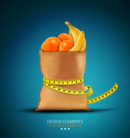 pack with fruit with measuring tape  Vector