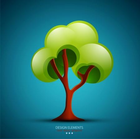 tree on a blue background  design element  Illustration
