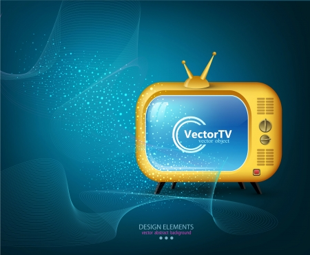 TV yellow on a blue background