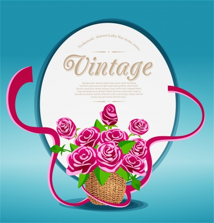 Vintage background with a bouquet of pink roses in a basket