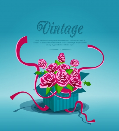 Vintage background with a bouquet of pink roses in a box