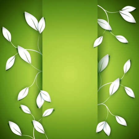 environmen: vector background with twigs and leaves on the green background Illustration