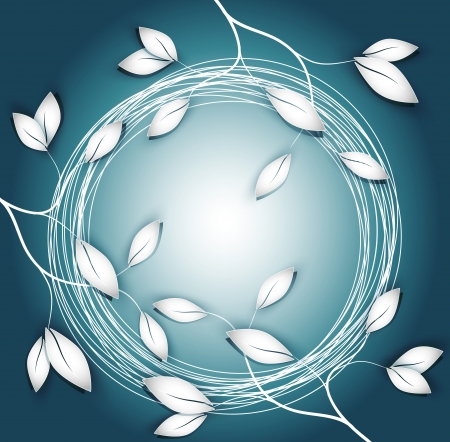 vector background with twigs and leaves and round frame
