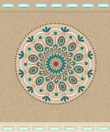 Vector Vintage background with oriental ornaments and ribbons