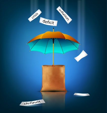 Vector creative background for business with an umbrella, bag,
