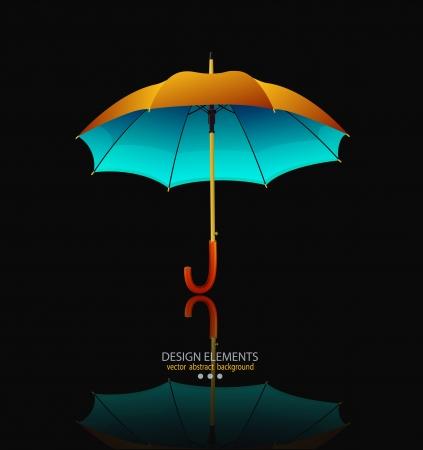 vector umbrella with reflection on black background Illustration