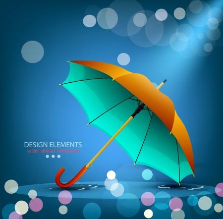 vector umbrella on a blue background