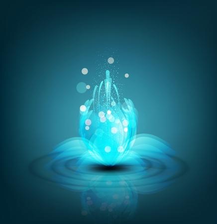 lirio acuatico: vector fondo romántico con los lirios de luminosos