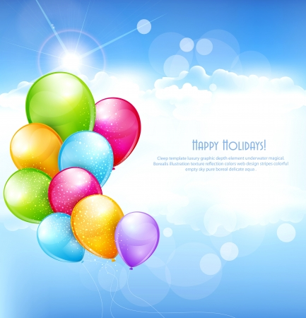 vector holiday background with multi-colored balloons flying in the blue sky Illustration