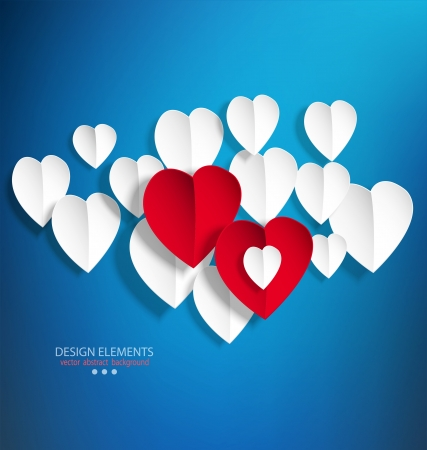 background with white paper hearts