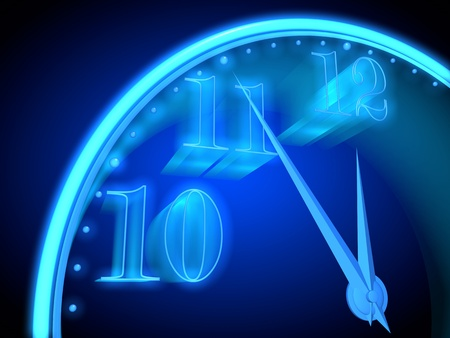 onset: Neon clock with a blue background indicate the imminent onset of a new year Stock Photo