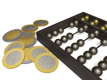 economic revival: The old abacus and coins on a white plane Stock Photo
