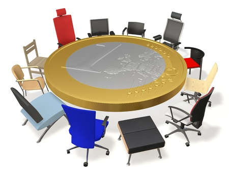 The table in the form of coins and chairs around photo