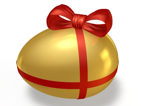 Golden egg with a red bow on a white background Stock Photo - 13608457