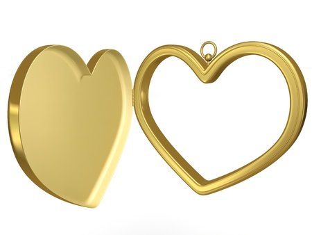 coulomb: Gold coulomb in the form of a heart for photos