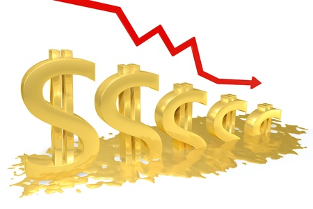 Gold dollar sign melting into a puddle, the red graph is reduced Stock Photo - 13608467