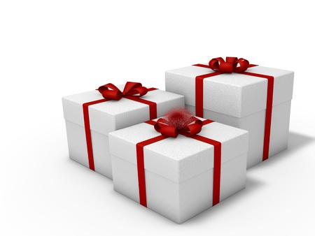 Boxes tied with red ribbon on white background decorated with bows photo