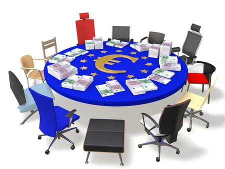 coalition: Colored chairs around the table with the symbol of the euro and banknotes