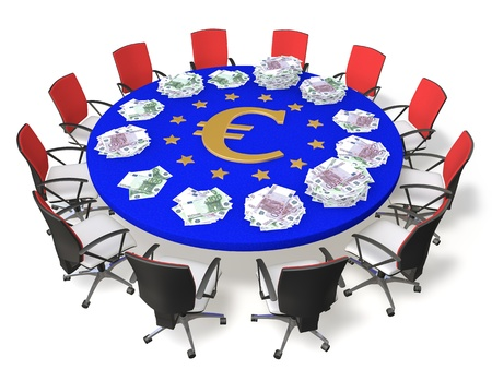 Chairs around the table with the symbol of the euro and banknotes photo