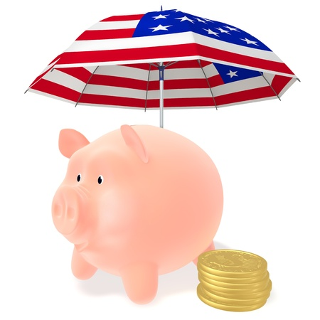 guarantor: Piggy Bank and сoins dollar under a striped umbrella on a white background
