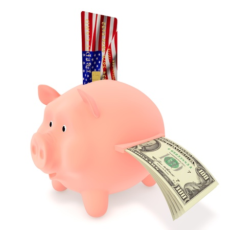 u s: Piggy Bank with a credit card U S  dollars Stock Photo