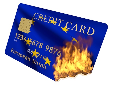 credit union: Credit Card of the European Union in the fire on a white background