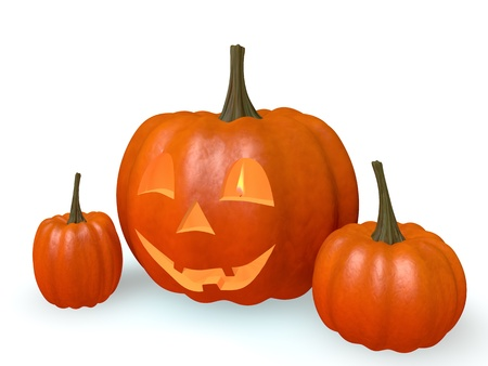 Smiling pumpkin and a candle on a white background Stock Photo - 14956635