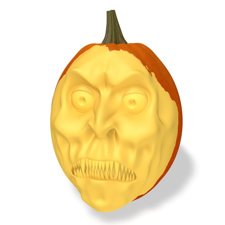 Halloween evil pumpkin on white background Stock Photo - 14956639