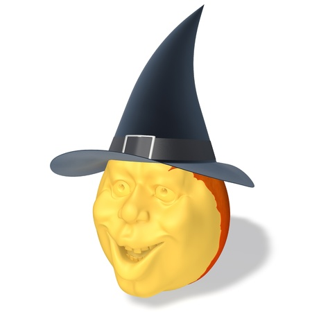 Halloween pumpkin with hat on white background photo
