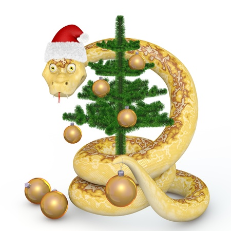 Snake in the Santa hat dresses up Christmas tree Stock Photo - 16174017